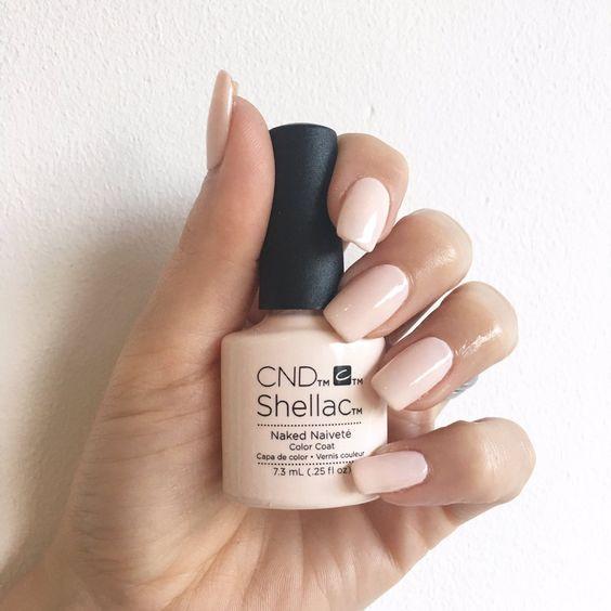 Tono CND Shellac Naked Naivete de uñas para novia